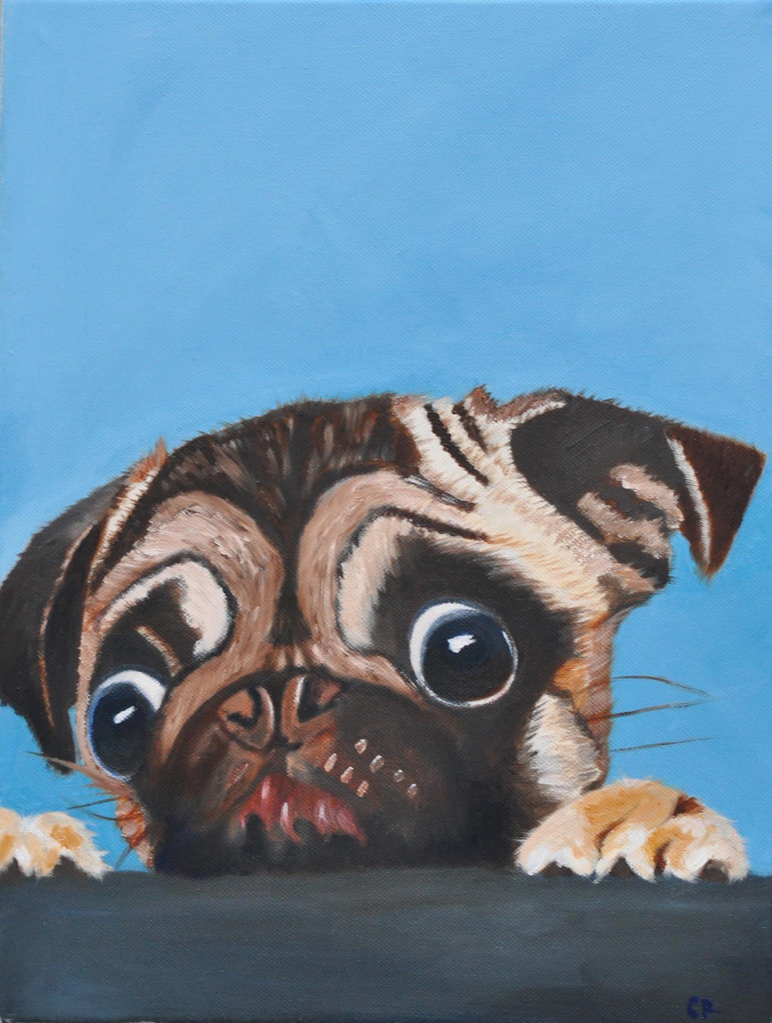 """Pug on blue"" - oil on canvas - SOLD"