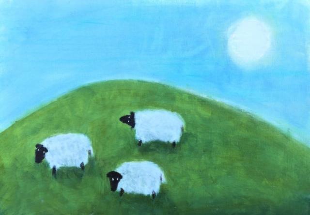 """Three sun bathing sheep"" - oil on paper - SOLD"