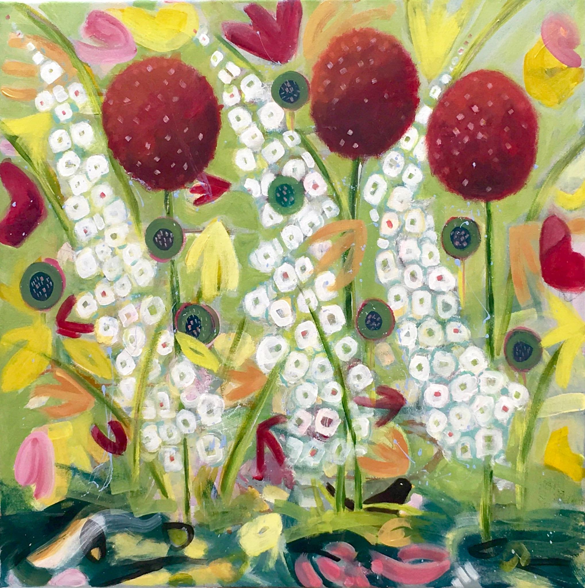 "Painting -""Alliums, Delphiniums and a Blackbird"" - acrylic on canvas - 60 x 60 cm unframed - Available £470"