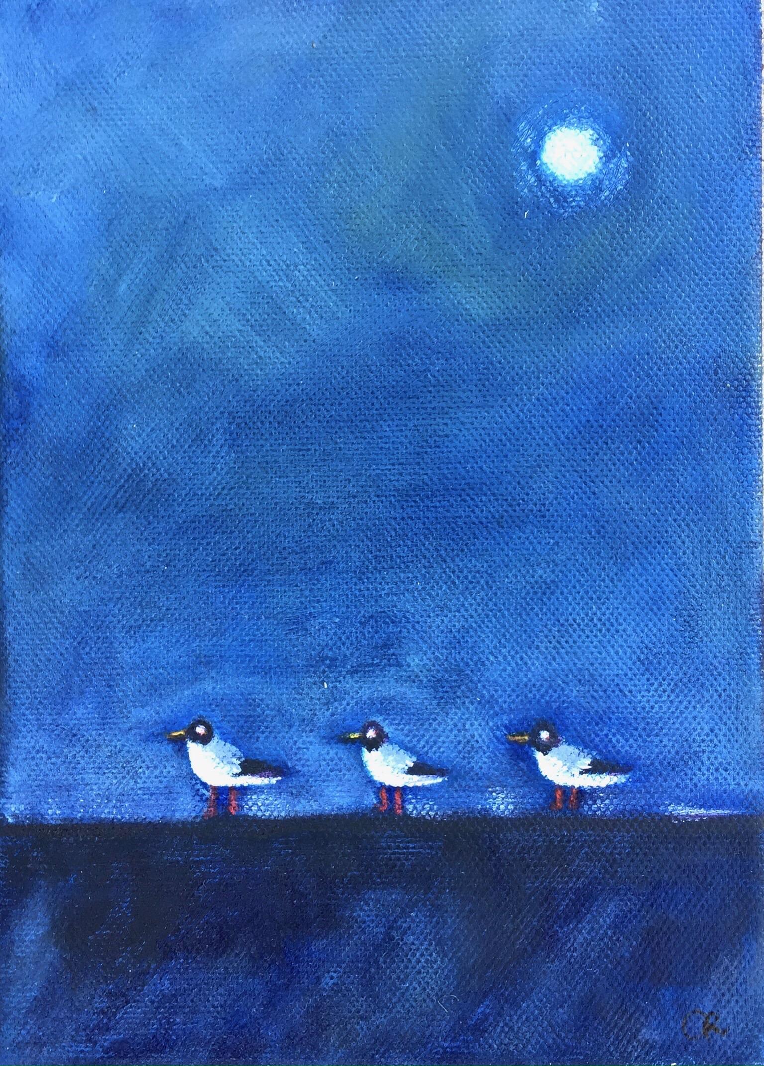 Three Birds - Acrylic on board - Sold