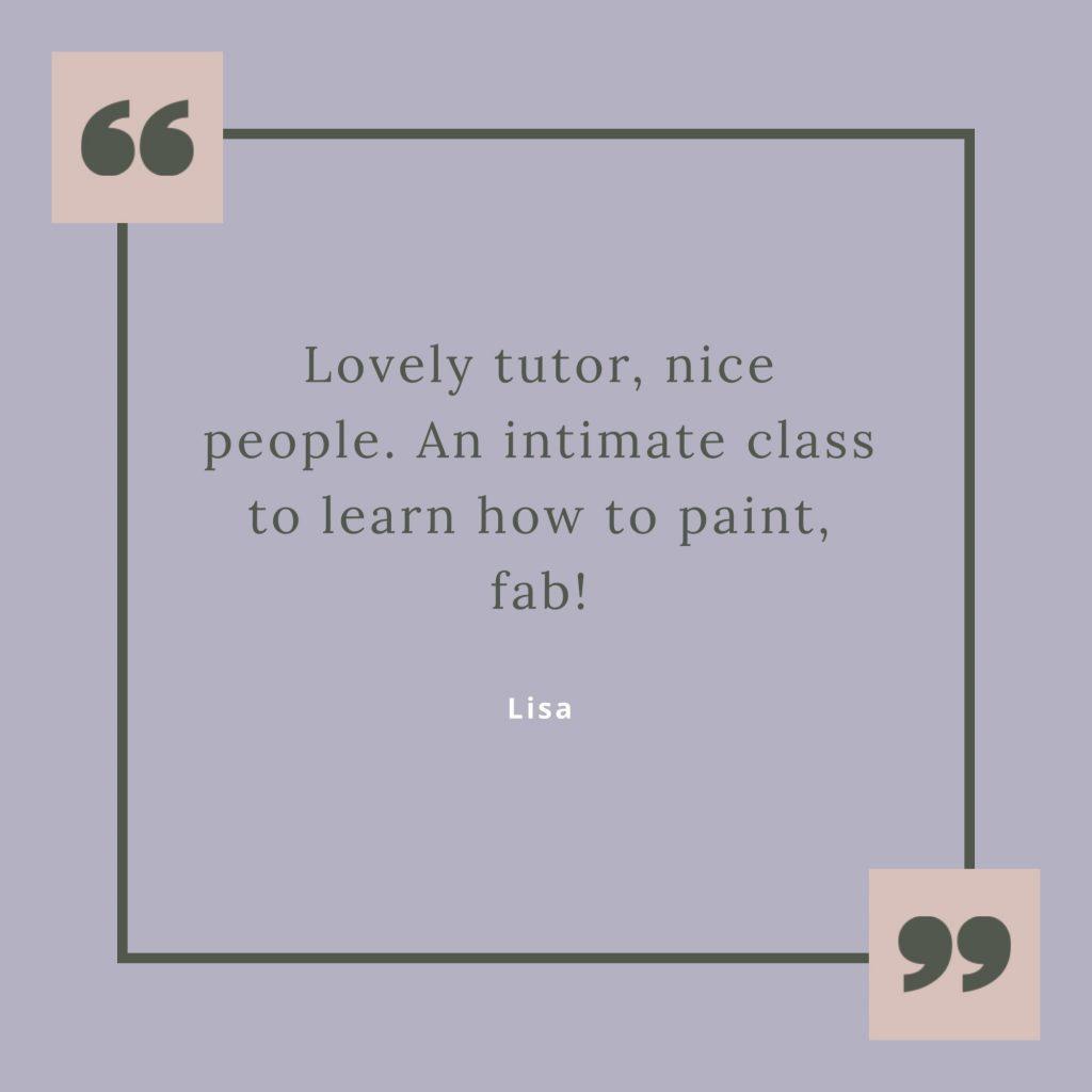 testimonial for Chrissie Richards art class